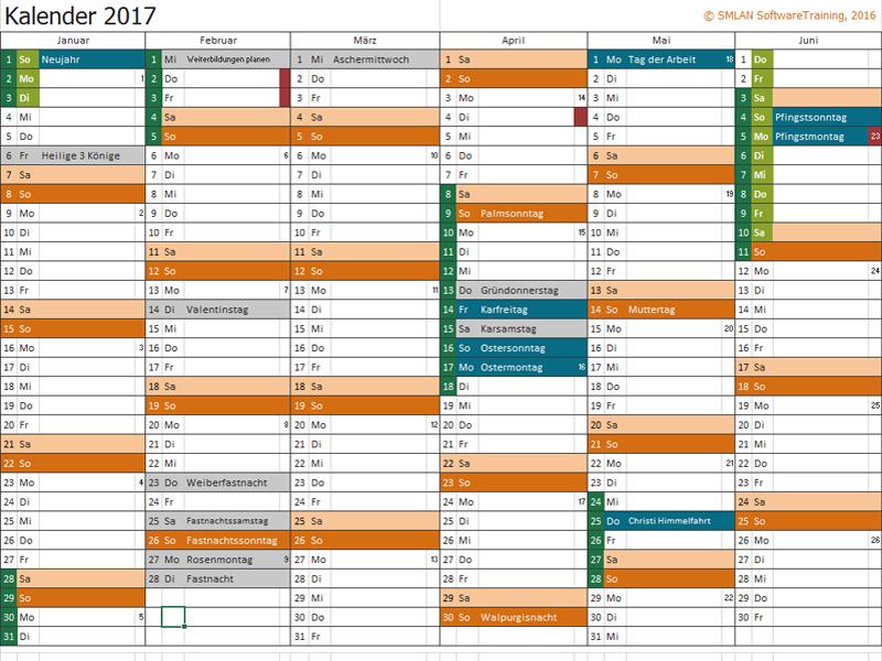 Jahreskalenders 2017
