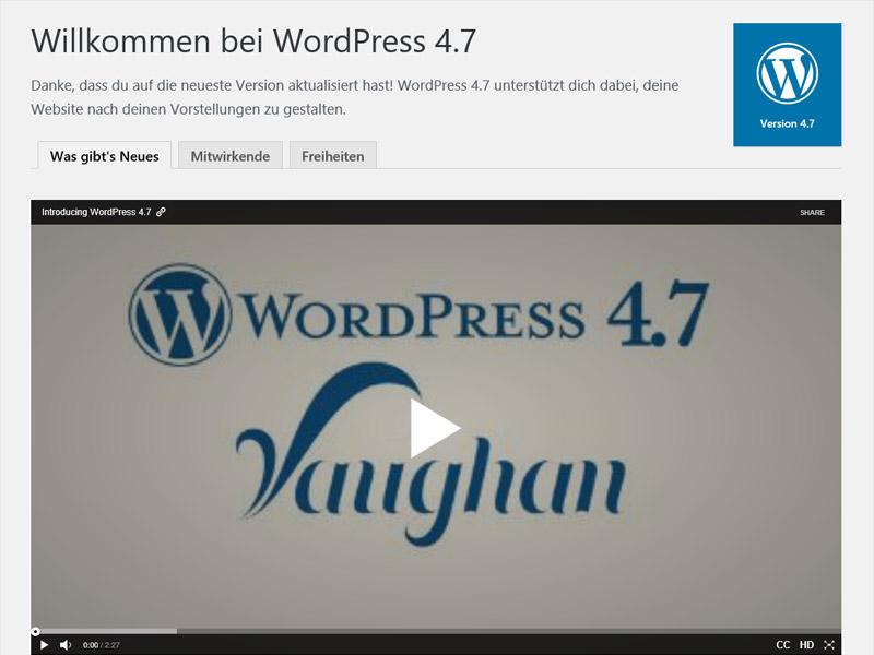 WordPress 4.7 Vaughan Neuerungen