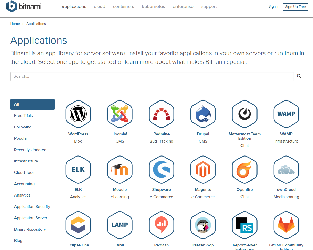 Screenshot von bitnami.com